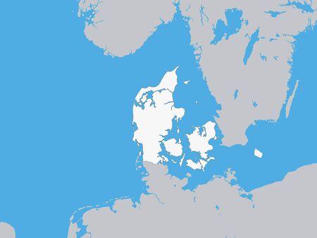 White Map of Denmark with Surrounding Terrain
