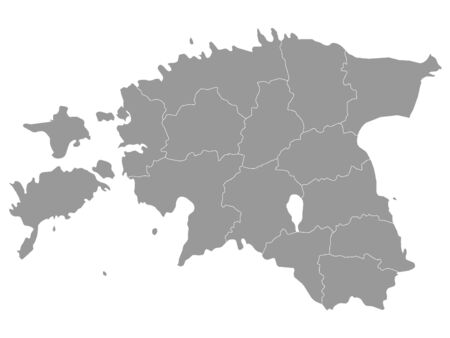 Gray Map of Regions of Estonia Фото со стока - 133011227