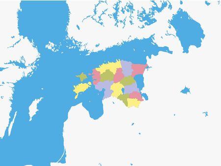 Mapa de las regiones de Estonia con el terreno circundante Ilustración de vector