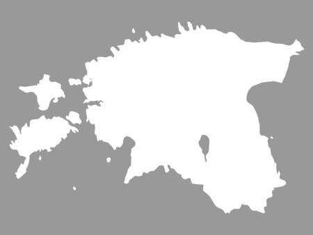White Map of Estonia on Gray Background