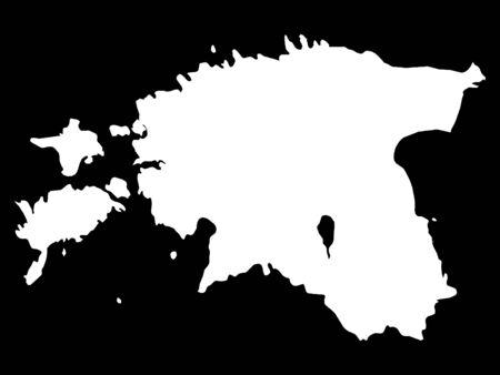 White Map of Estonia on Black Background