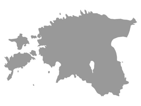 Gray Map of Estonia on White Background Иллюстрация