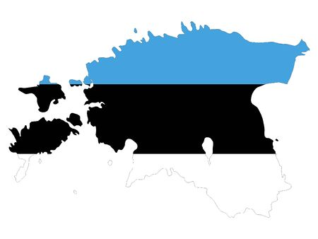 Combined Map and Flag of Estonia