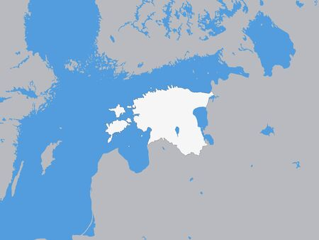 White Map of Estonia with Surrounding Terrain