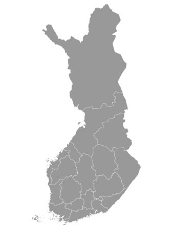Gray Map of Regions of Finland 일러스트