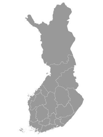 Gray Map of Regions of Finland Illustration