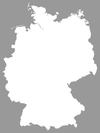 White Map of Germany on Gray Background