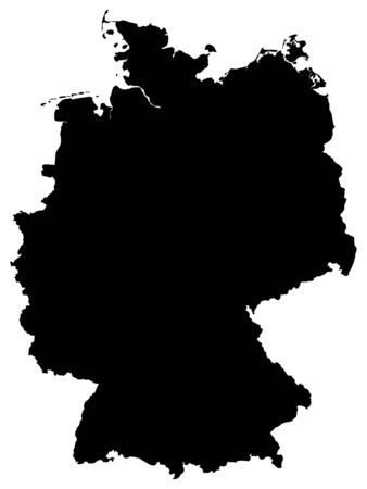 Black Map of Germany on White Background