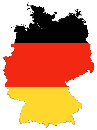 Combined Map and Flag of Germany