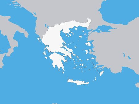 White Map of Greece with Surrounding Terrain