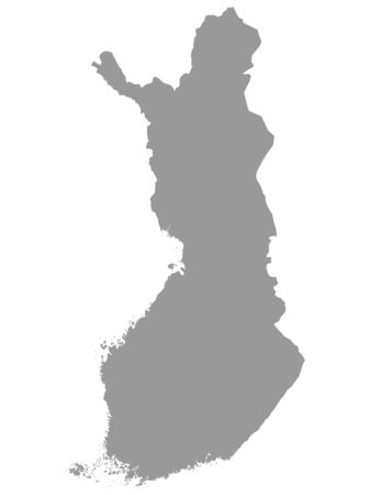 Gray Map of Finland on White  Background