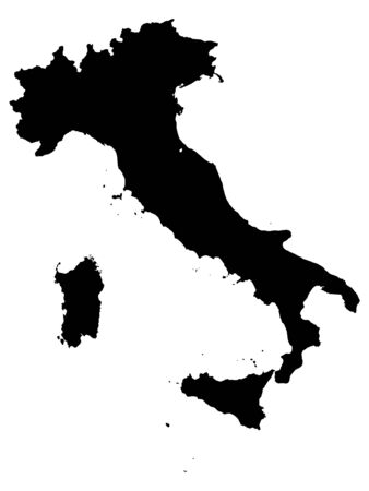 Black Map of Italy on White Background