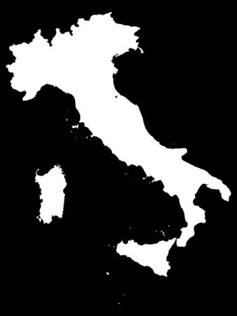 White Map of Italy on Black Background 일러스트
