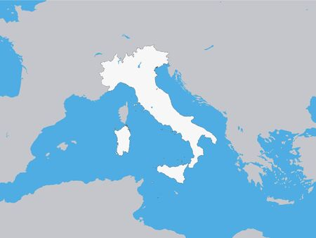 White Map of Italy with Surrounding Terrain