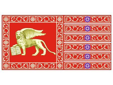 Flag of the Italian City of Venice, Italy Stock Illustratie