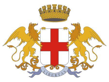 Coat of Arms of the Italian City of Genoa, Italy