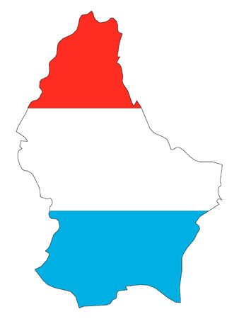 Combined Map and Flag of Luxembourg Stock Illustratie