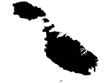 Black Map of Malta on White Background