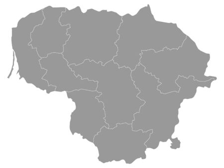 Gray Map of Regions of Lithuania
