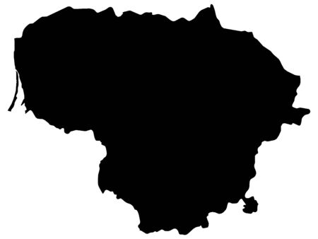 Black Map of Lithuania on White Background
