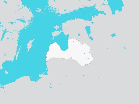 White Map of Latvia with Surrounding Terrain