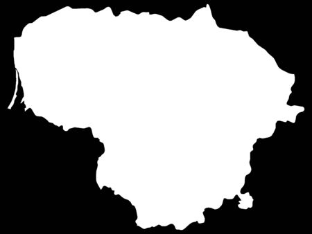 White Map of Lithuania on Black Background