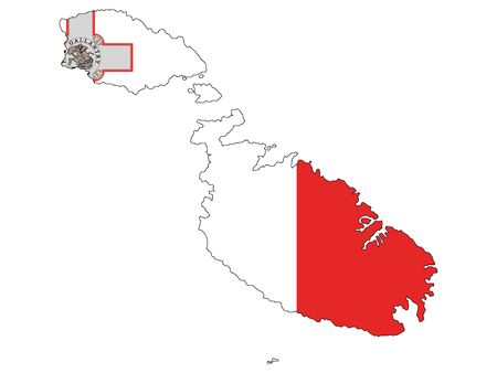 Combined Map and Flag of Malta