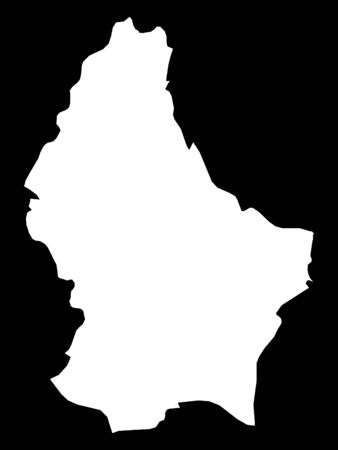 White Map of Luxembourg on Black Background