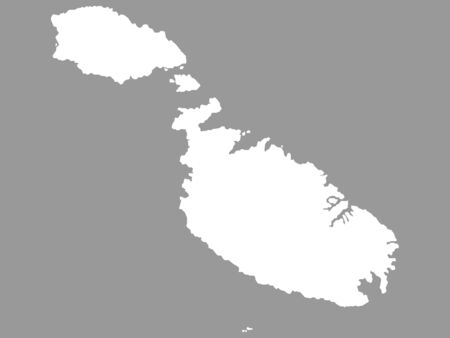 White Map of Malta on Gray Background