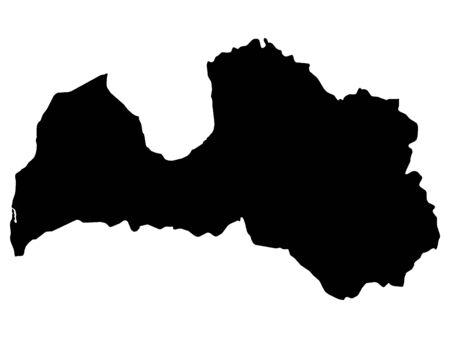 Black Map of Latvia on White Background