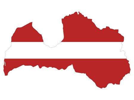 Combined Map and Flag of Latvia