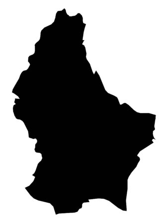 Black Map of Luxembourg on White Background