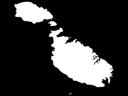 White Map of Malta on Black Background Stock Illustratie