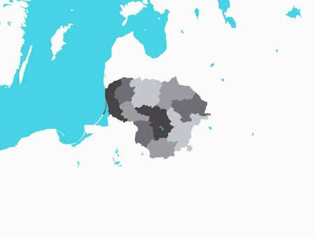 Gray Map of Regions of Lithuania with Surrounding Terrain Stock Illustratie