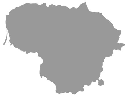 Gray Map of Lithuania on White Background, Lithuania