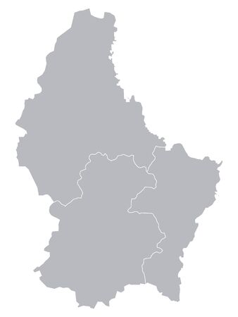Gray Map of Regions of Luxembourg
