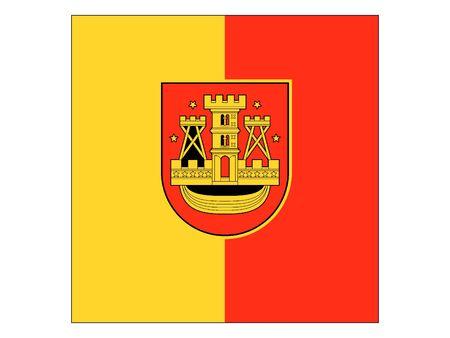 Flag of Lithuanian City of Klaipeda, Lithuania Stok Fotoğraf - 133011565