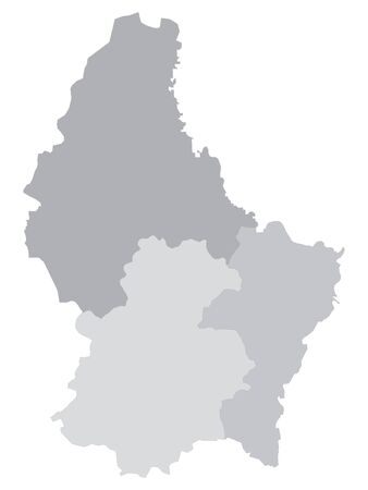 Gray Map of Regions of Luxembourg with Surrounding Terrain 일러스트