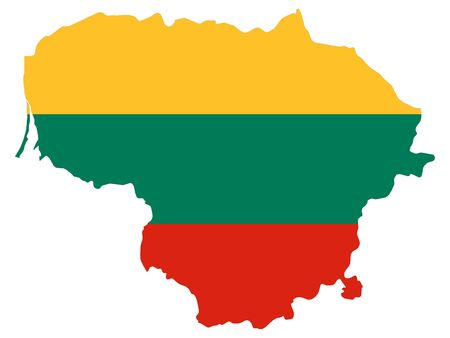 Combined Map and Flag of Lithuania Stok Fotoğraf - 133011568