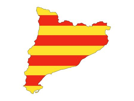 Flag and Map Combined of the Spanish Autonomous Community of Catalonia 일러스트