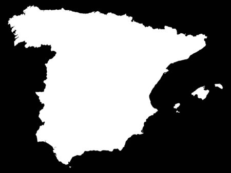 White Map of Spain on Black Background