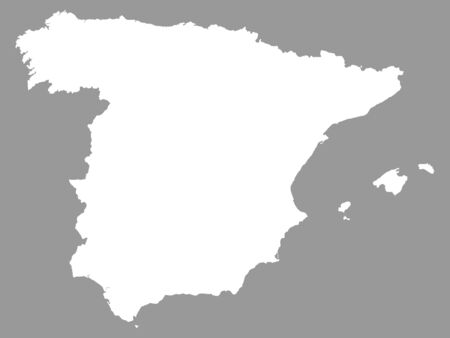 White Map of Spain on Gray Background