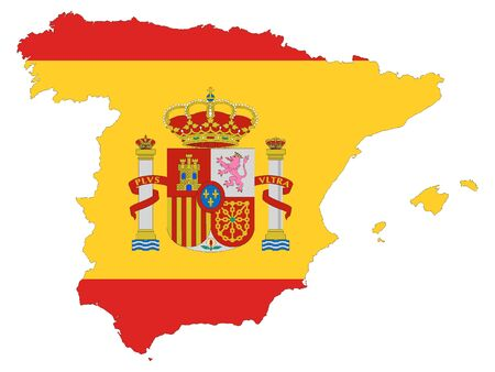 Combined Map and Flag of Spain