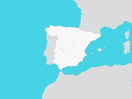 White Map of Spain with Surrounding Terrain Illustration