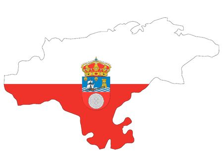Flag and Map Combined of the Spanish Autonomous Community of Cantabria