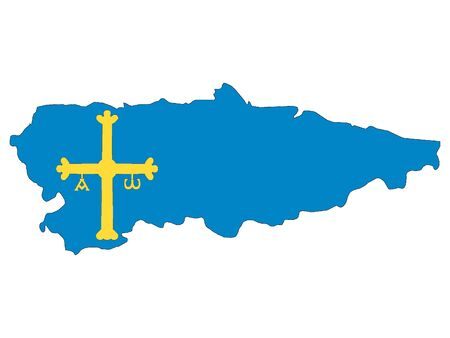 Flag and Map Combined of the Spanish Autonomous Community of Principality of Asturias