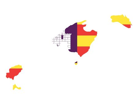 Flag and Map Combined of the Spanish Autonomous Community of Balearic Islands Иллюстрация
