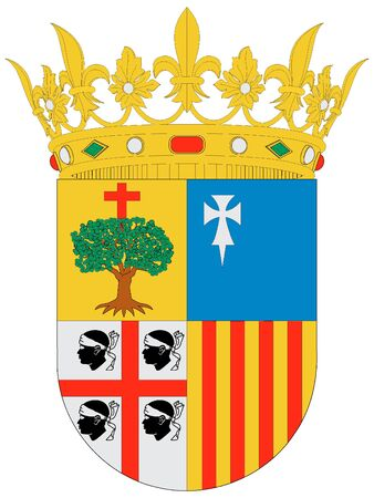 Coat of Arms of the Spanish Autonomous Community of Aragon Иллюстрация