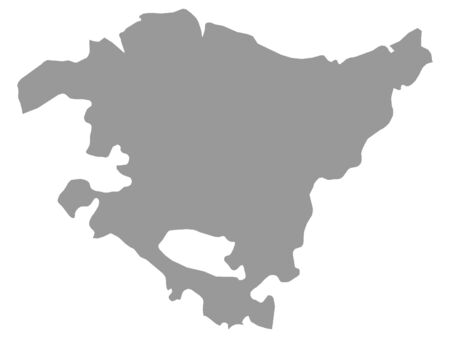 Grey Map of the Spanish Autonomous Community of Basque Country Illustration