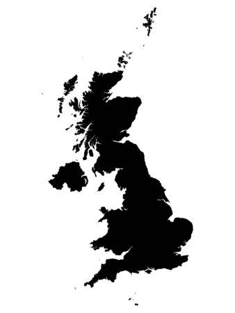 Mapa negro de Gran Bretaña sobre fondo blanco. Ilustración de vector